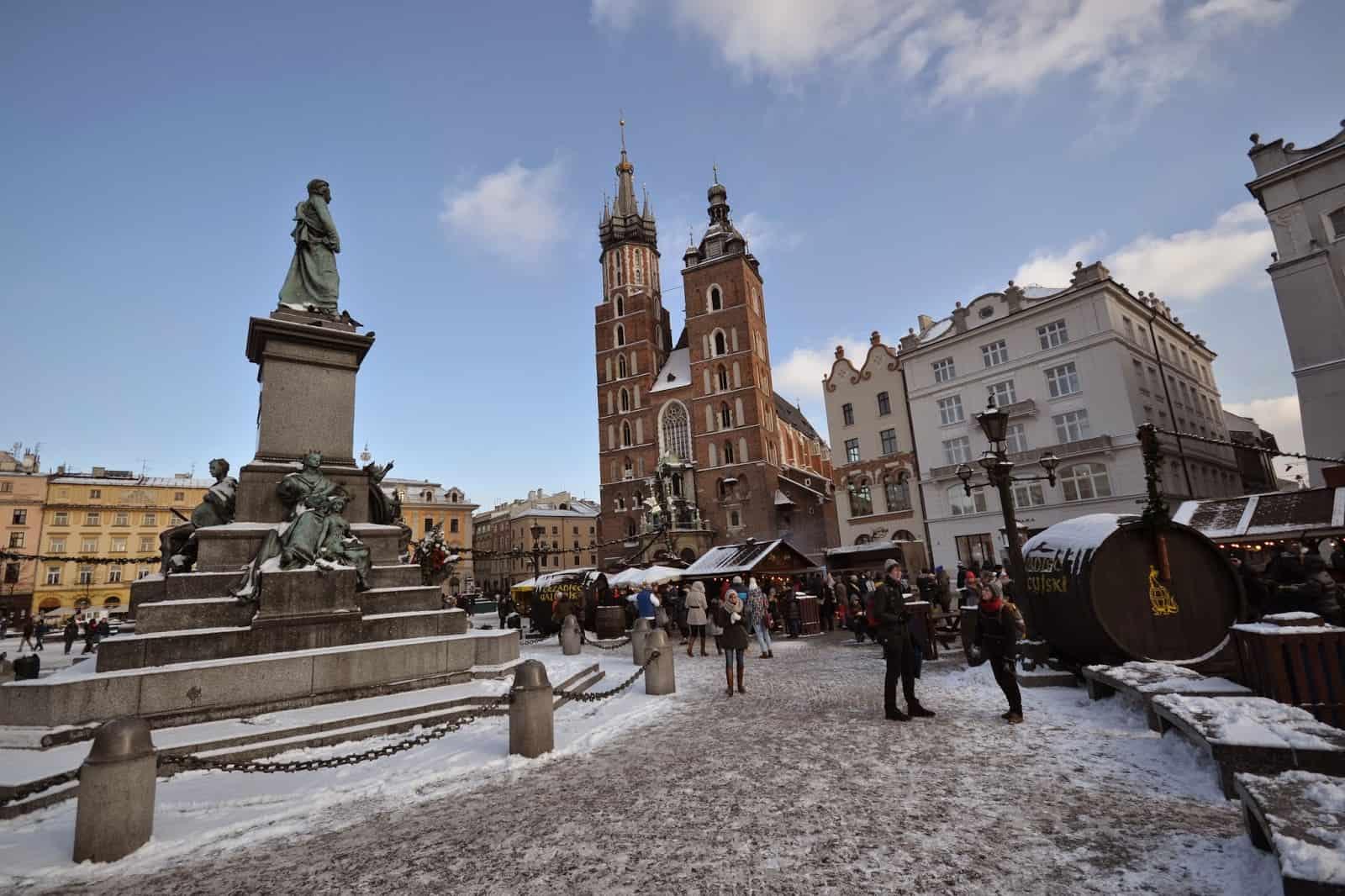 rynek zima w krakowie